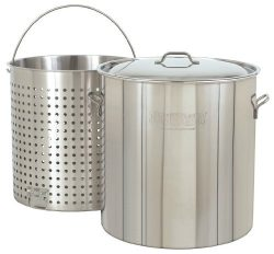Bayou Classic 1102 102-Qt. Stainless Steel Stockpot with Boil Basket