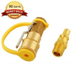 Wadoy RV Propane Quick Connect Adapter Kit Natural Gas 1/4″ Shutoff Valve & Male Full  ...