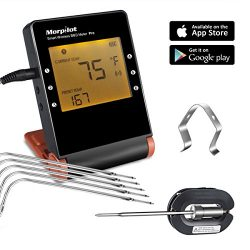 Wireless Meat Thermometer for Smoker, Morpilot Bluetooth Meat Probes Thermometer Smart Remote Di ...