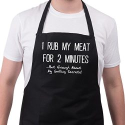 BBQ Apron Funny Aprons For I Rub My Meat Barbecue Grill Kitchen Gift One Size