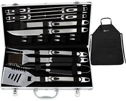 ROMANTICIST BBQ Tools Set – 20PCS BBQ Grill Tools Set w/ Non Slip Handle – Heavy Dut ...