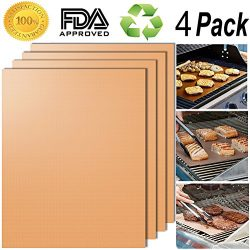 Smaid – Gold Grill Mat Set of 4 – 100% Non-stick BBQ Grill Mats – FDA-Approved ...
