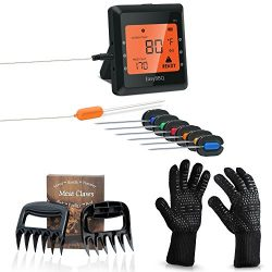 Digital Meat Thermometer Probe and Grilling Set – Wireless Instant Read Meat Thermometer for Smo ...