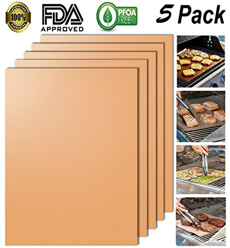 Looch Gold Grill Mat Set of 5- 100% Non-stick BBQ Grill & Baking Mats – FDA-Approved,  ...