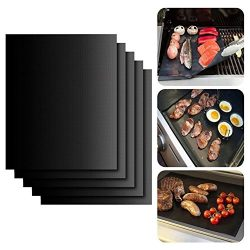 JLTPH 5 PACK BBQ Grill Mat Set of 5 Non-stick Cooking Mats Barbecue Sheets -Reusable, Heat Resis ...