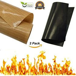 Cabin Wild- Non Stick BBQ Cooking Grilling Mats- Black Plus Copper Set Heavy Duty-Reusable Large ...