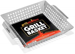 Grillaholics Grill Basket, Best in Barbecue Grilling Accessories, Grill BBQ Veggies on Gas or Ch ...
