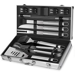 Professional BBQ Grill Utensils w/ Storage Case (18-Piece Set) Stainless Steel Barbecue Tools |  ...