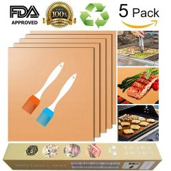 Copper Grill Mat and Bake Mat Set of 5 Non Stick BBQ Grill & Baking Mats – Reusable, E ...