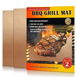 LauKingdom Grill Mat,100% Non-stick BBQ Grilling Mat, Reusable Barbecue Accessories (Set of 2)