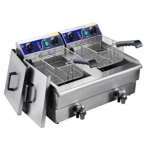 Heavy Duty 20L Dual Tank Stainless Steel Electric Deep Fryer w/ Drain Timer Baskets for French F ...