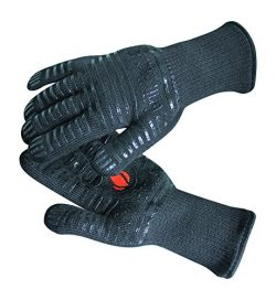 Extreme Heat Resistant Grill Gloves: Premium Insulated & Silicone Lined Aramid Fiber Mitts f ...