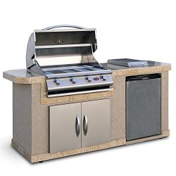 Cal Flame LBK-701-A Stucco Grill Island With 4 Burner Stainless Steel Gas Grill, 7'/Medium