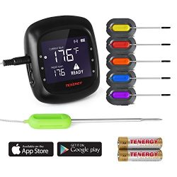Tenergy Solis Digital Meat Thermometer, APP Controlled Wireless Bluetooth Smart BBQ Thermometer  ...