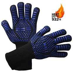 BBQ Grilling Gloves – Protect Your Hands With Extra Long Heat Resistant Oven Safety Mitts  ...