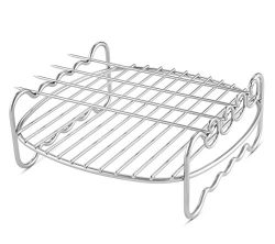 Airfryer Double Layer Rack with 4 Skewers Compatible with Philips Airfryer Models HD9216/17, HD9 ...