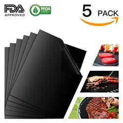 Grill Mat Set of 5, Non-Stick BBQ Grill & Baking Mats, FDA Approved, PFOA Free, Reusable and ...