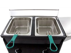 Hunslow Outdoor Deep Fryer Two Tank Portable works with Propane Gas Tanks + 2 Baskets & Stai ...