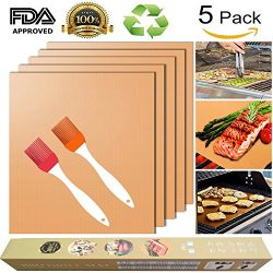 Copper Grill Mat for Gas Grills and Bake Mats Set of 5 Non-stick BBQ Grill & Baking Copper S ...