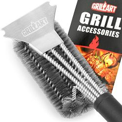 Grill Brush and Scraper – GRILLART Best BBQ Brush for Grill, Safe 18″ Stainless Stee ...