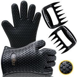 Barbecue Gloves & Pulled Pork Claws Set – Silicone Heat Resistant Grilling Accessories ...