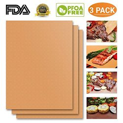 Copper Grill Mat Set of 3-100% Non-stick BBQ Grill Mat- FDA-Approved, PFOA Free, Easy to Clean D ...