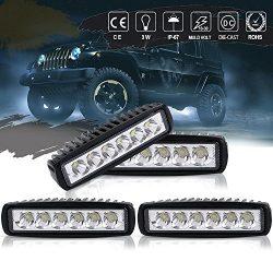 QUAKEWORLD Spot Fog Work Light 6″ 4pcs Straight DRL Backup Driving Pods Reverse Hidden Bum ...