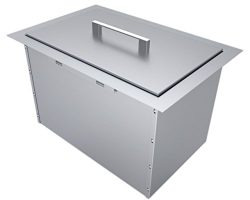 SUNSTONE B-IC14 Over/Under Height Single Basin Insulated Wall Ice Chest with Cover, 14″ x  ...