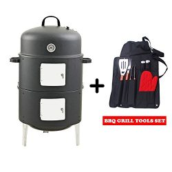 Realcook 17-Inch Multi-functional Charcoal BBQ Smoker Grill Outdoor Cooking with Barbecue Grill  ...