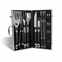 Monbix GL-80319 BBQ Grill Tools Set with 19Pcs Ergonomic Barbecue Accessories, Stainless Steel U ...
