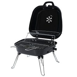Portable Foldable Tabletop Charcoal BBQ Grill with four Foldable legs and a warming rack for cam ...