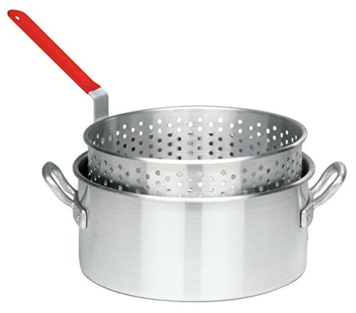 Kitchen Outdoor Aluminum Perforated Basket Strainer Fry Pot with Meat Mallet Combo