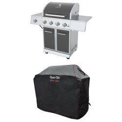 Dyna-Glo DGE Series Propane Grill, 4 Burner, Gunmetal and premium grill cover ,Medium
