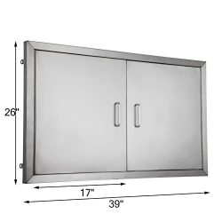 BestEquip Double BBQ Island 304 Stainless Door Double Access BBQ Door 39x26inch Double Door Flus ...