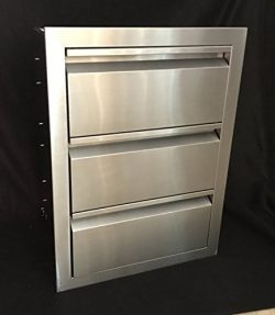19″W x 26″H TRIPLE ACCESS DRAWER OUTDOOR KITCHEN BBQ ISLAND 304 STAINLESS STEEL STORAGE