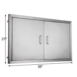 BestEquip Double BBQ Island 304 Stainless Door Double Access BBQ Door 36x21inch Double Door Flus ...