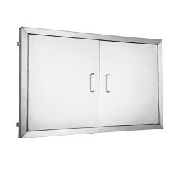 Mophorn 42 Inch Double Stainless Door Flush Mount BBQ Island Double Walled Door Commercial 304 B ...