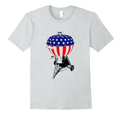 Mens USA Charcoal Kettle Grill T-Shirt Stars and Stripes July 4th Large Heather Grey