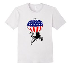 Mens USA Charcoal Kettle Grill T-Shirt Stars and Stripes July 4th XL White