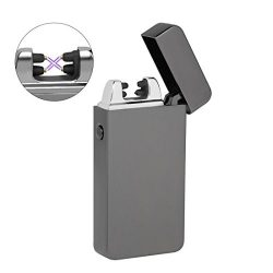 Dual Arc Plasma Lighter, Kuool Flameless Windproof Splashproof Butane Free USB Rechargeable Doub ...