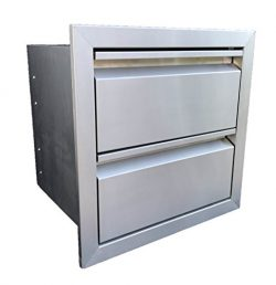 19″W x 19″H DOUBLE ACCESS DRAWER OUTDOOR KITCHEN BBQ ISLAND 304 STAINLESS STEEL STORAGE