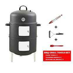 Realcook 17-Inch BBQ Charcoal Vertical Smoker Grill Outdoor Cooking, Black
