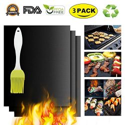 Black Grilling Mat Oven Liners BBQ Baking Mats – 100% Non Stick Best Grill Mats for Charco ...
