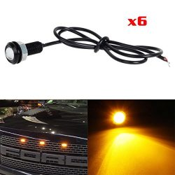 Partsam 6x 3000K Amber LED Eagle Eye Lights for Ford F150 Raptor Style Front Grille Lighting Kit ...