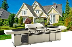 3 Piece Stainless Steel Marble Top BBQ Grill Island
