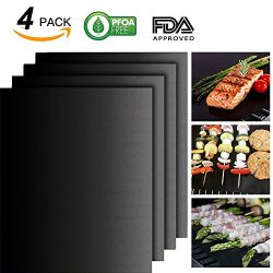 BBQ Grill Mat Set of 4 – 100% Non-stick BBQ Grill Mats – FDA-Approved, PFOA Free, Re ...