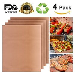 Grill Mat Set of 4, Heavy Duty 100% Non-stick BBQ Grill, Durability reused and easy to clean, FD ...