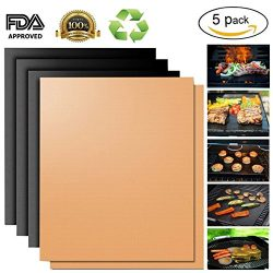 Copper Grill Mat,Non Stick BBQ Baking Mat Set of 5 Reusable,Easy to Clean PTFE Teflon Fiber Gril ...