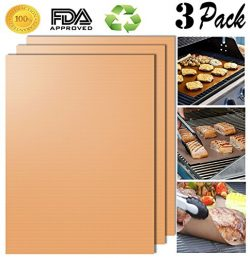 Aoocan Gold Grill Mat Set of 3- 100% Non-stick BBQ Grill & Baking Mats – FDA-Approved, ...