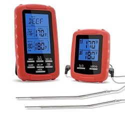 The Premium Chef Wireless Grill Thermometer with Dual Probe for Smoker, Countdown Timer, and Per ...